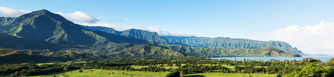 Beautiful panoramic shot of mountains and fields along the ocean coast line