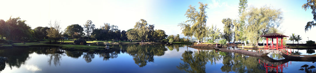 Panoramic shot of shrine over water and garden in Hilo, Hawaii