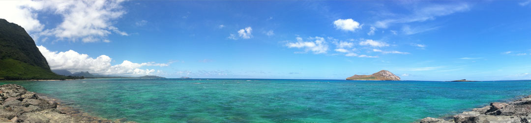Panoramic ocean view of Oahu's Rabbit Island