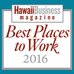Logo for Best Places to Work 2016, awarded to Hawaii Information Service