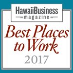 Logo for Best Places to Work 2017, awarded to Hawaii Information Service