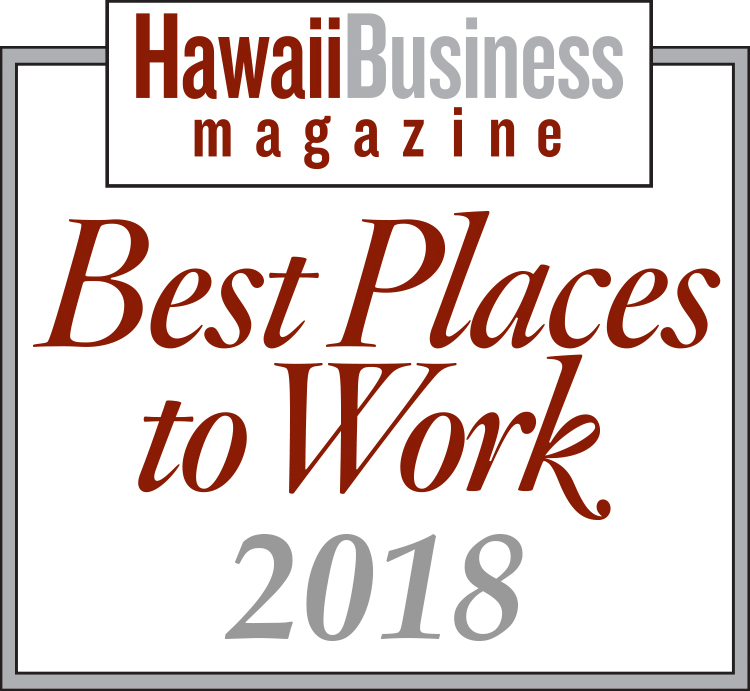 Logo for Hawaii Business Magazine's Best Places to Work 2018, awarded to Hawaii Information Service