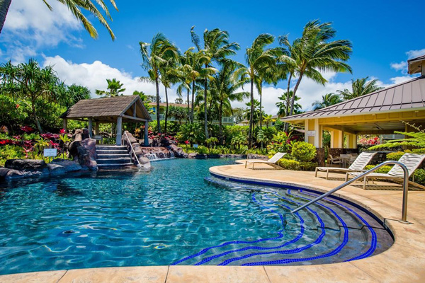 Beautiful outdoor pool on a beautiful day in Hawaii-nei