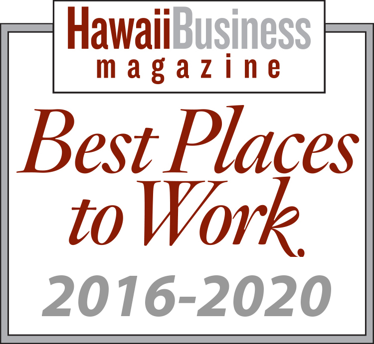 Logo for Best Places to Work 2016-2020, awarded to Hawaii Information Service